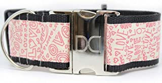 "product image for Diva-Dog 'Love Notes' 2"" Extra Wide Custom Engraved Dog Collar"