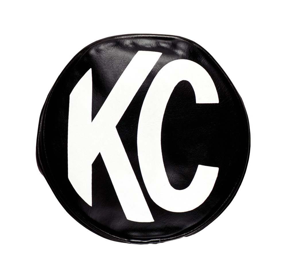 KC HiLiTES 5400 5-Inch, Round Black Vinyl Light Cover with White KC Logo, Set of 2
