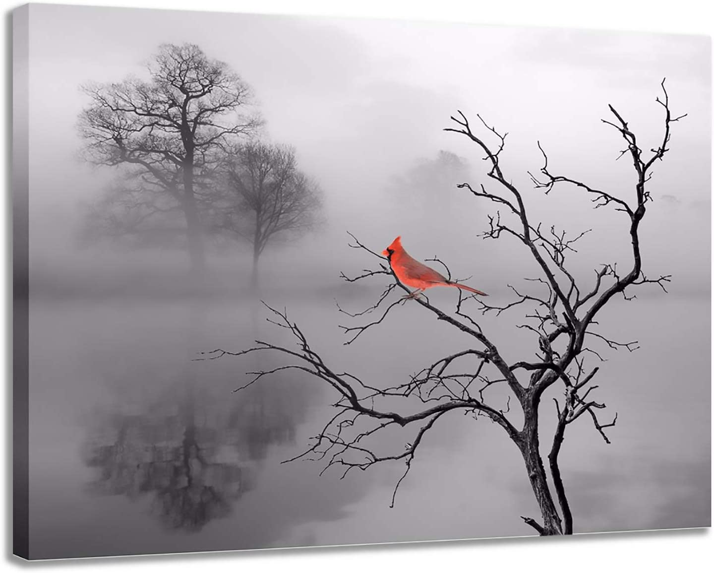 LANFEINA 1Pc Modern Large Red Bird Tree Canvas Oil Printed Paintings Poster Wall Art Pictures Home Bedroom Living Room Décor,Wall Art For Living Room Grey And Red No Frame