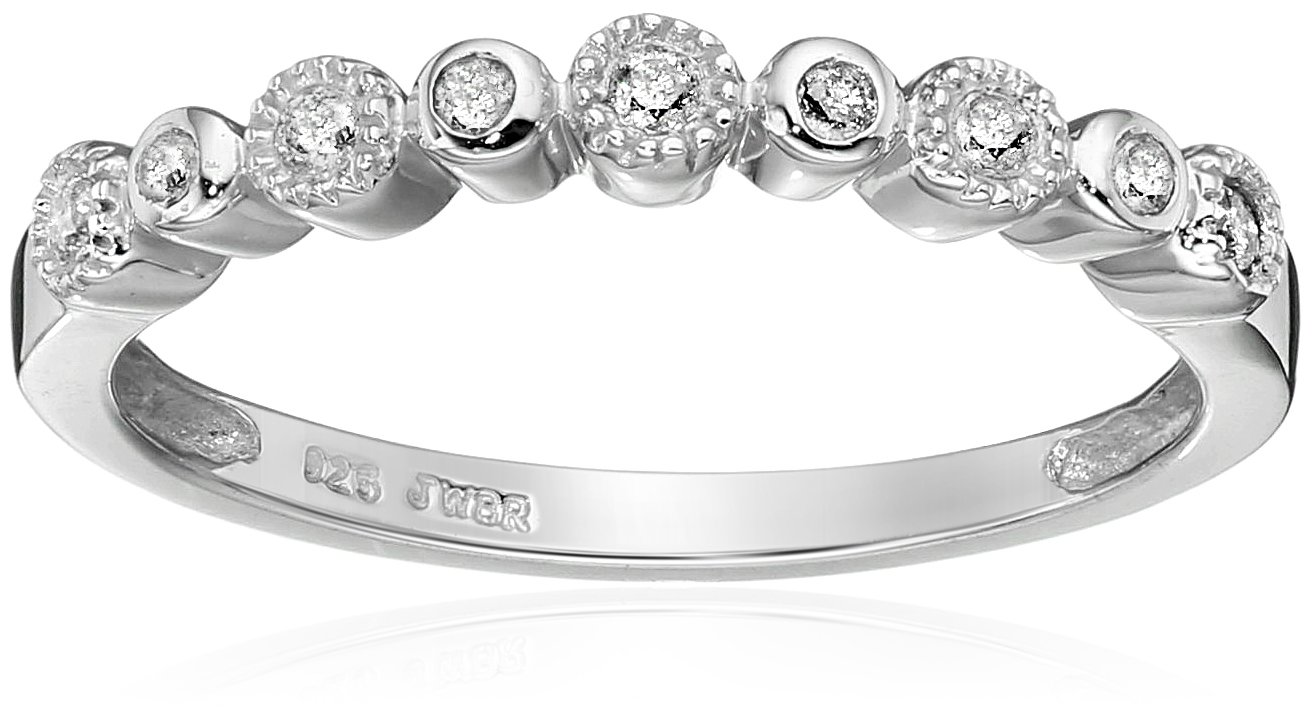 Sterling Silver Diamond Anniversary Ring (1/10 cttw), Size 6