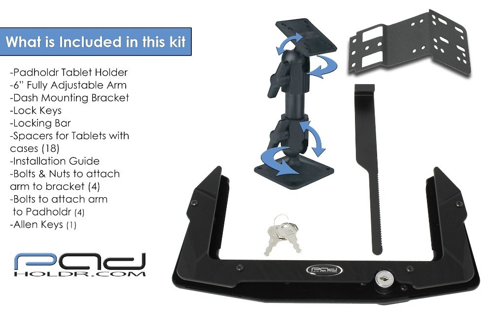 Padholdr Utility Series Premium Locking Tablet Dash Kit for 2005-2007 Ford F-250 SD F-350 SD F-450 and F-550