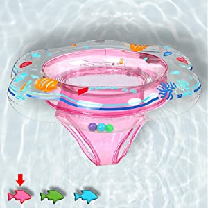 Baby Swimming Ring Floats with Safety Seat Double Airbag Swim Rings for Babies Kids Swimming Float Baby Floats for Pool Swim Training Aid Kids PVC Pool Floats for Toddlers of 6-24 Months - Pink