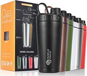 Stainless Steel Insulated Protein Shaker Bottle/Drink Shaker/Protein Shaker/Shaker Cup/Shake Mixer Bottle/Protein Mixes/Water Bottle/Double Wall/Sweat-Proof/Leakproof/BPA Free/20 oz (Black-N)