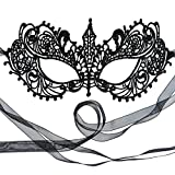 Gorgeous Genuine Black Goddess Lace Masquerade Mask by Samantha Peach