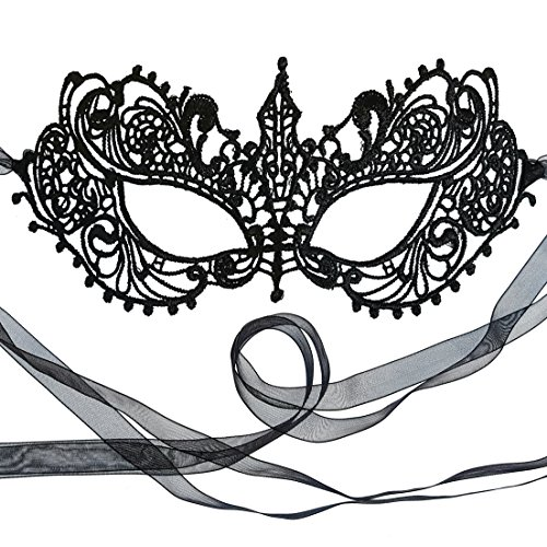 Gorgeous Genuine All Lace Black Goddess Masquerade Ball Mask