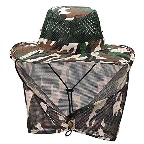 (Luwint Mesh Neck Flap Sun Hat - Head Net Cover Bucket Cap for Outdoors Fishing Gardening Camping Hiking Hunting (Green Camo))