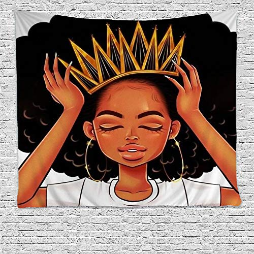 Girls Room Hanging - SARA NELL Black Art Wall Tapestry Hippie Art African American Women Girl with Crown Tapestries Wall Hanging Throw Tablecloth 50X60 Inches for Bedroom Living Room Dorm Room