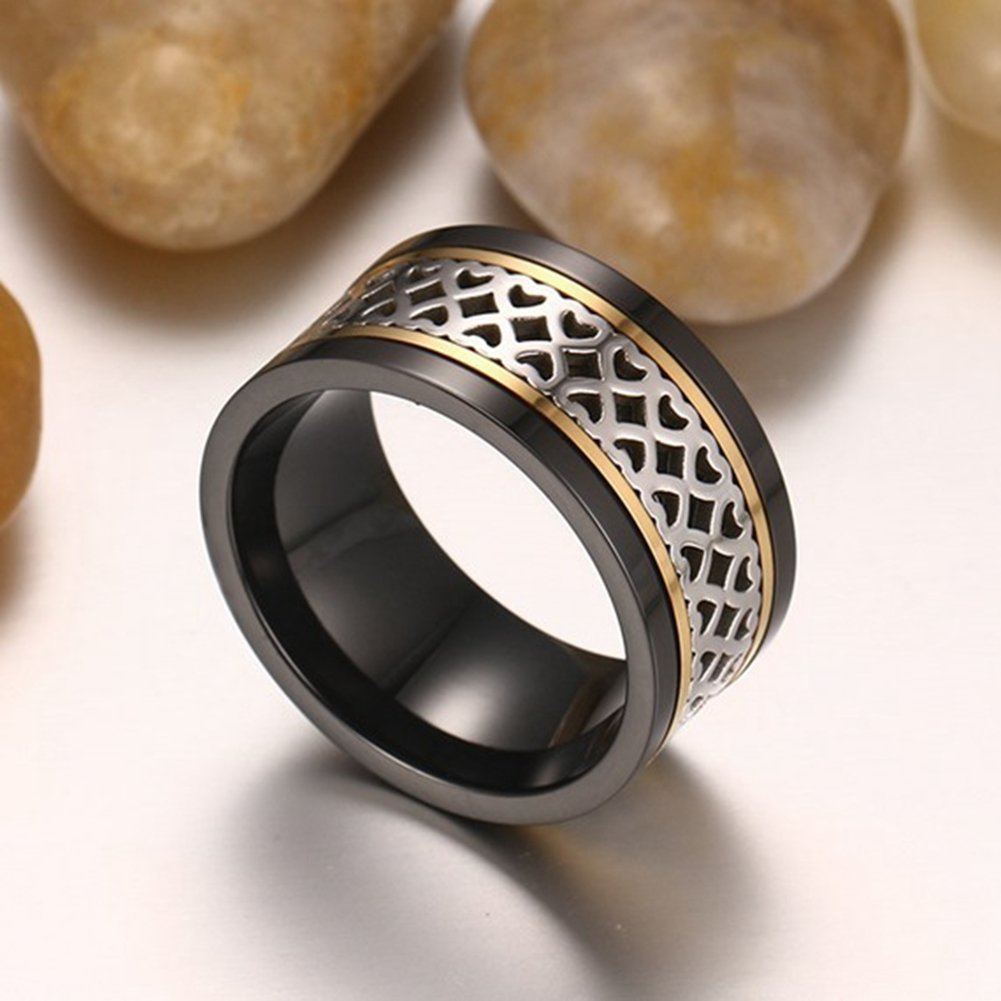 SAINTHERO Men's Wedding Bands Vintage Wide 12MM Black Titanium Steel Hearts Spinner Forever Love Promise Rings for Him High Polish Comfort Fit Size 11 by SAINTHERO (Image #4)