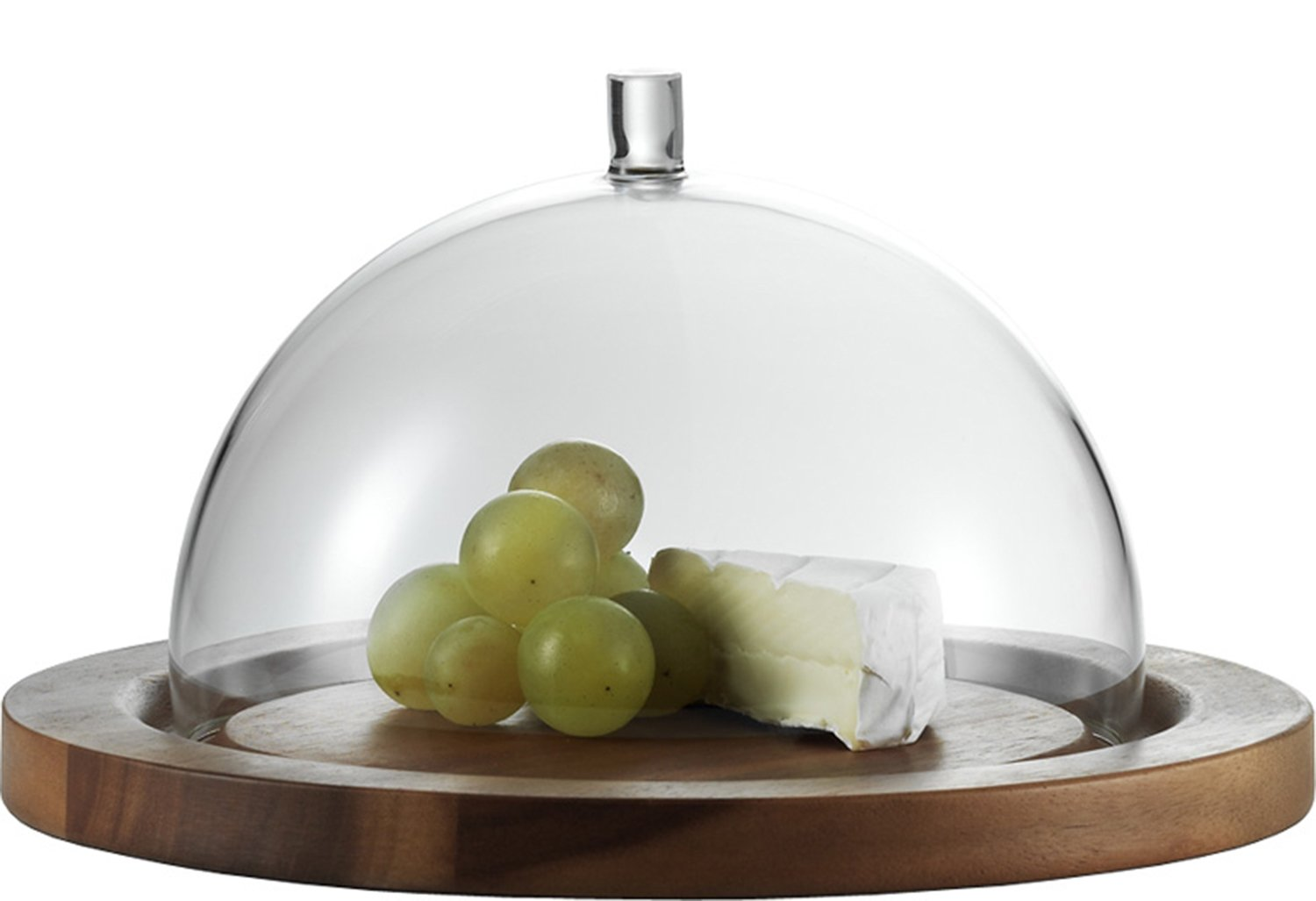 Jenaer Glas Concept Storage Collection Cheese Dome with Acacia Plate, 9.5-Inch