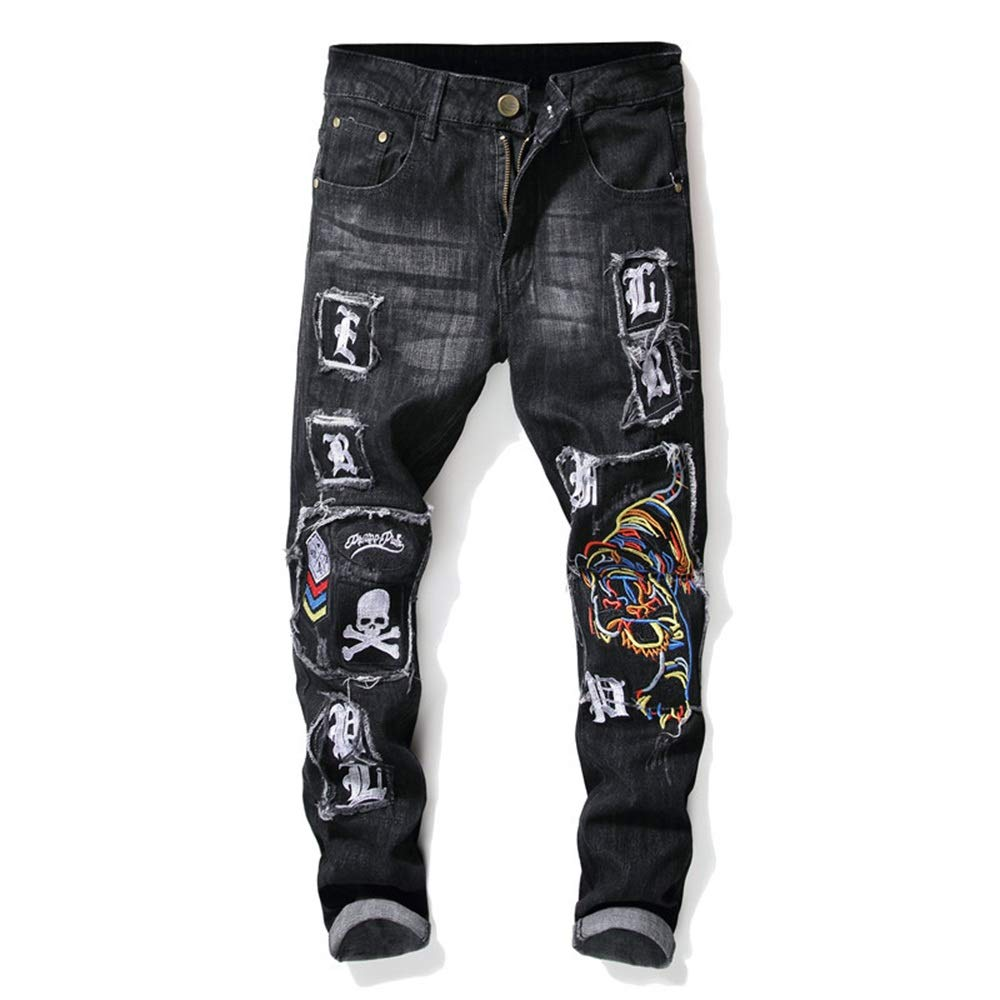 Douhuayu Mens Autumn and Winter New Worn Embroidery Tiger Skull Badge Slim feet Elastic Ripped Jeans