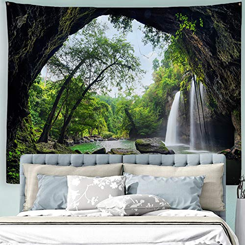 Baccessor Mountain Cave Tapestry Nature Still Waterfall in Green Tropical Forest Tree Landscape Tapestry for Living Room Bedroom Dorm, 90