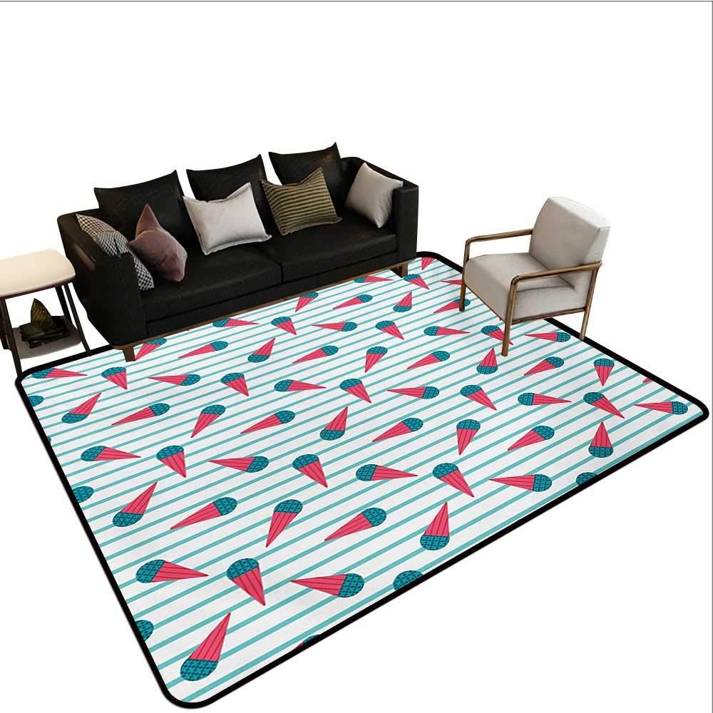 Household Decorative Floor mat,Scandinavian Design Cartoon Cones with Geometrical Toppings on Stripes 6'6''x8',Can be Used for Floor Decoration