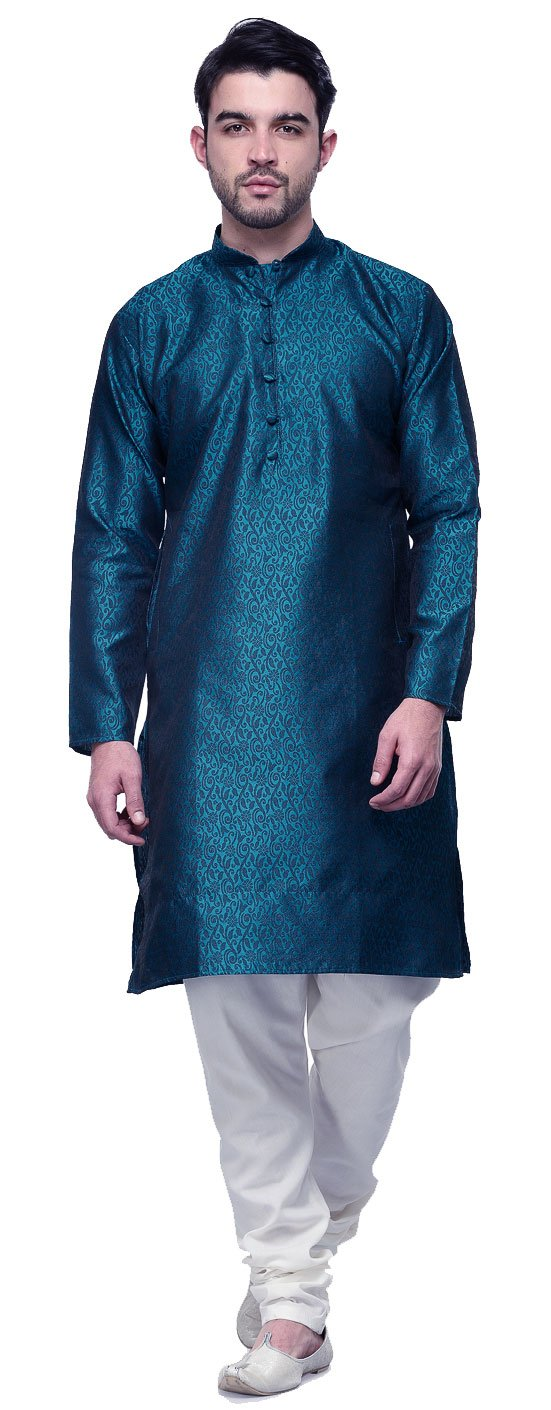 Maple Clothing Men's Kurta Pajama Jacquard Silk Indian Party Wear M) kp-jqdlp-blu-m40