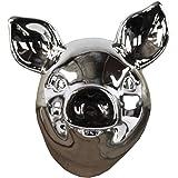 Urban Trends Ceramic Pig Head Wall Decor, Polished Chrome Silver
