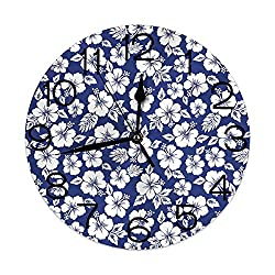 GULTMEE Round Wall Clock Home Decorative, Hibiscus Silhouettes Flowering Mallow Family Plant Exotic Summer Season Foliage for Living Room Office Bedroom