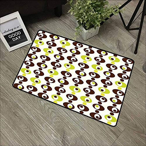 - Children's mat W19 x L31 INCH Geometric,Sixties Ornamental Vintage Circles with Polka Dots Trippy Design,Apple Green Chestnut Brown Cream with Non-Slip Backing Door Mat Carpet