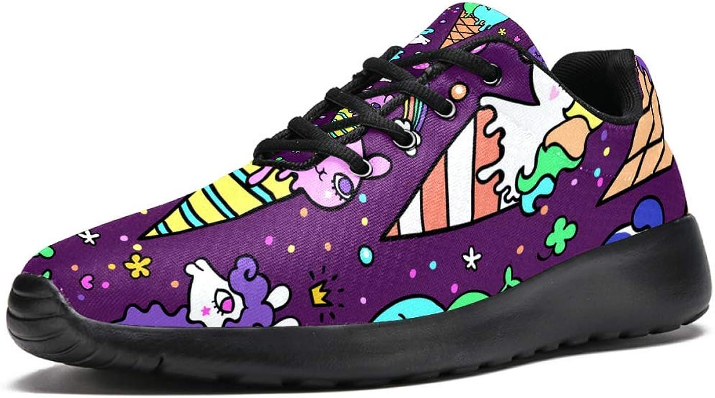 TIZORAX Zapatillas de running para hombre, diseño de unicornio de helado, malla transpirable para caminar, senderismo, tenis, talla 4,5, color Multicolor, talla 37 1/3 EU: Amazon.es: Zapatos y complementos