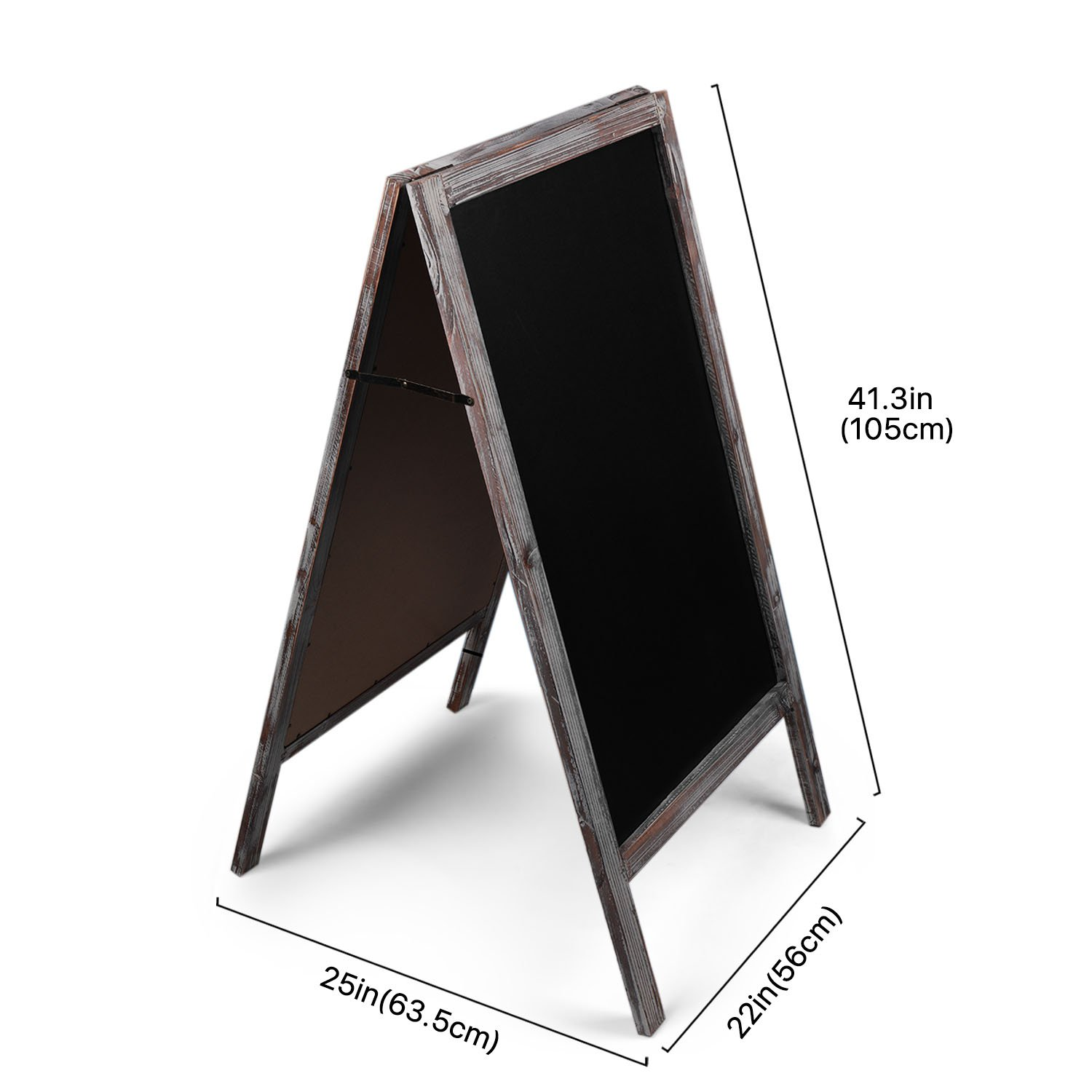 Chalkboards Office Products Flexzion A Frame Chalkboard Sign Rustic Wooden Sidewalk Easel Chalk Stand 41â Freestanding Sturdy Sandwich Board Double Sided Message Display Vintage Torched Restaurant Chalkboard For Cafe Bar