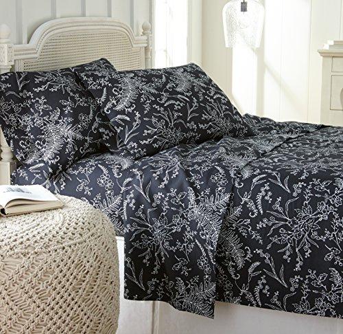 Black White Winter - Southshore Fine Linens - Winter Brush Print 4 Piece Sheet Sets, Queen, Black Sheets w/White Flowers