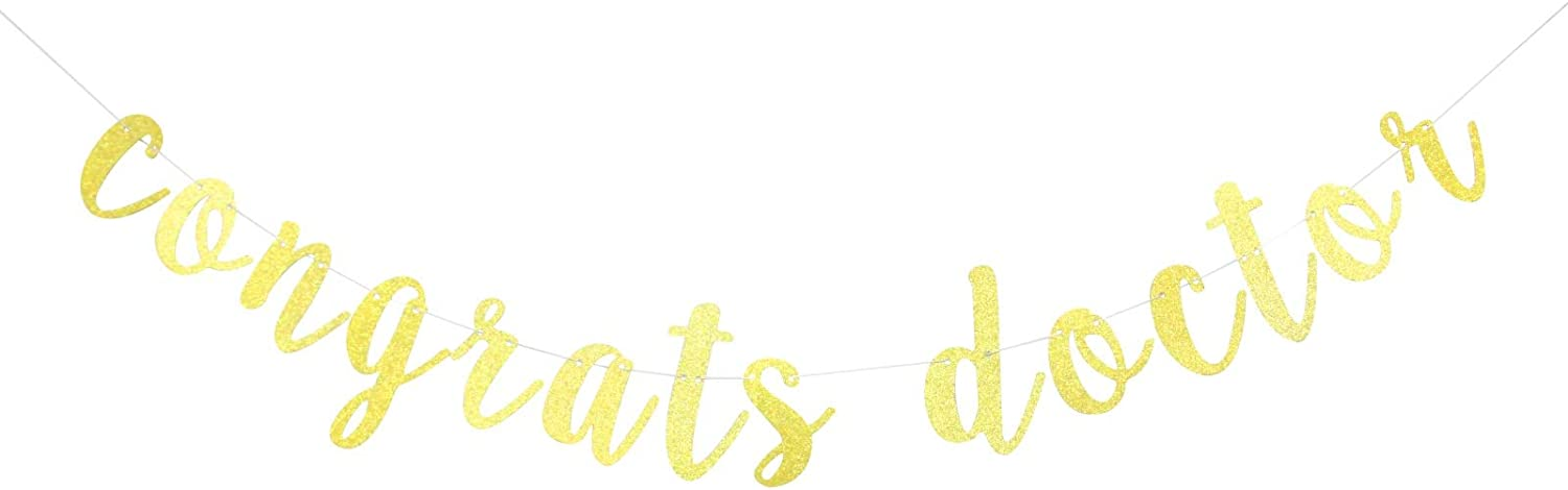 Congrats Doctor Banner,Doctor Graduation Decor,RN Graduation Sign,MD Graduation Garland Graduation Party Decations (Gold)