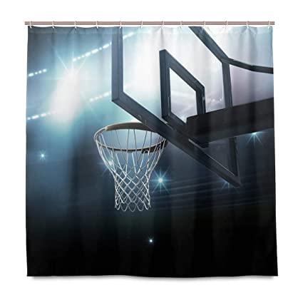 Amazon WBKCQB Unisex Basketball Hoop Shower Curtain Waterproof