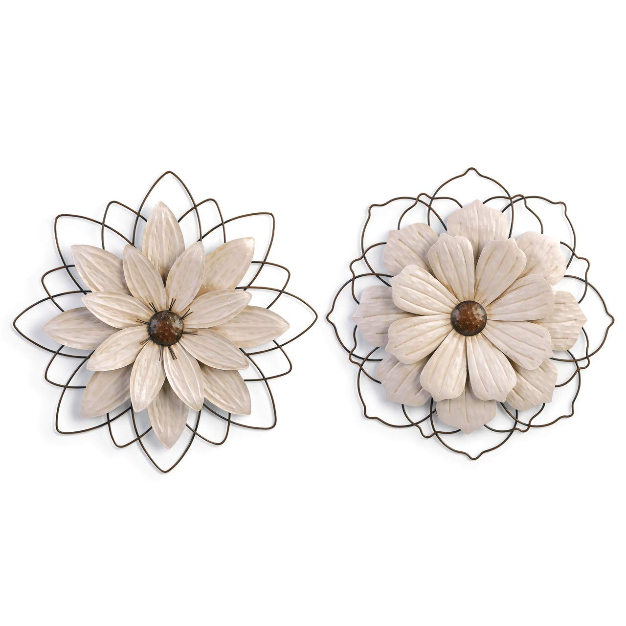 DEMDACO Flower Off White 23 x 23 Iron Metal Decorative Wall Sculpture Plaques Set of 2