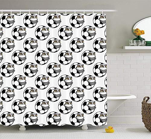(TYANG Soccer Shower Curtain,Cartoon Football Mascot with Happy Funny Face Expression Sports Game Play,Fabric Bathroom Decor Set with Hooks,Black White Yellow 4872 inches)