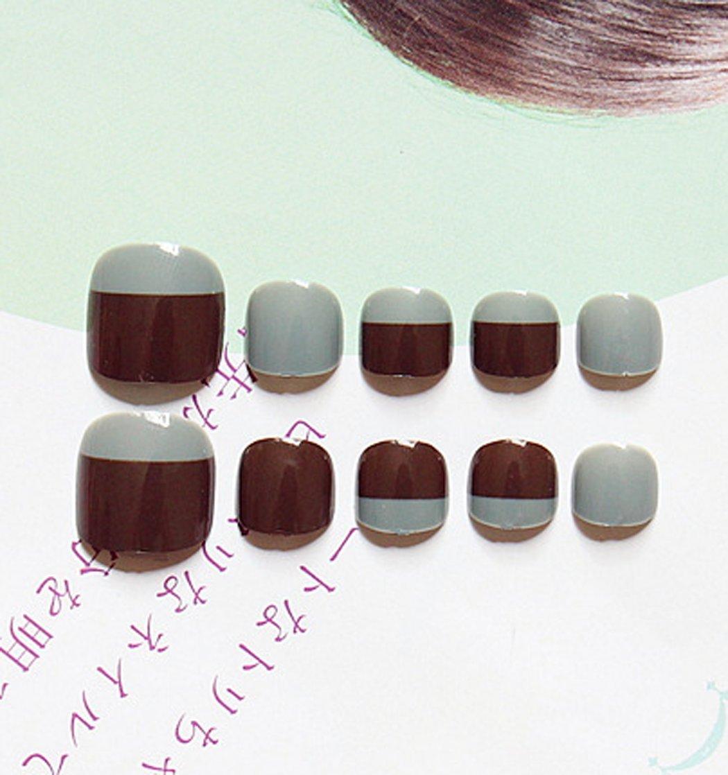 jovono falsos de acrílico francés falso uñas de los pies uñas arte consejos para las mujeres y las niñas: Amazon.es: Belleza