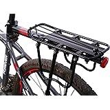 West Biking 3 Schnellspanner Fahrrad gepäckträger max Belastung 50kg mit Reflektor einstellbar Alu Schwarz, weiß