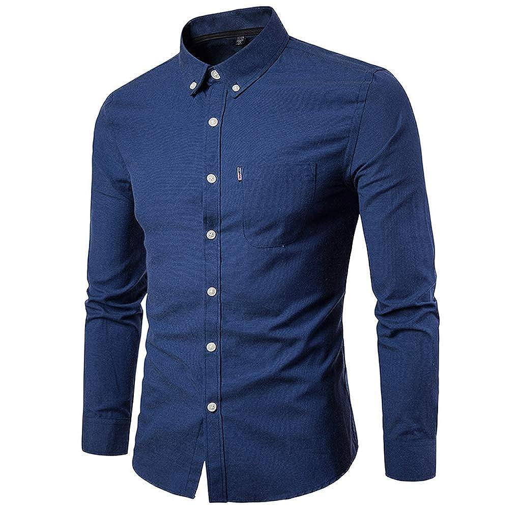 Luckycat Herren Slim Langarm Shirt Casual Solid Shirt Bluse Top Mode 2018 LUCKYCAT Herren Hemden TWO