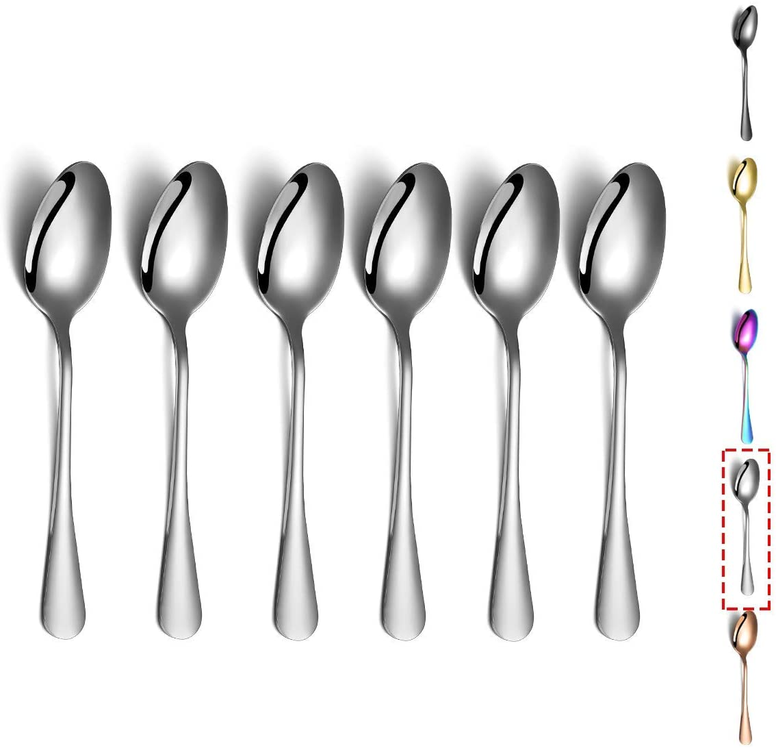 Black Soup Spoons Black Dinner Spoon Table Spoon Spoons Silverware Dishwasher Safe Set of 6 Kyraton 6 Pieces Stainless Steel Round Spoons With Black Titanium Plating