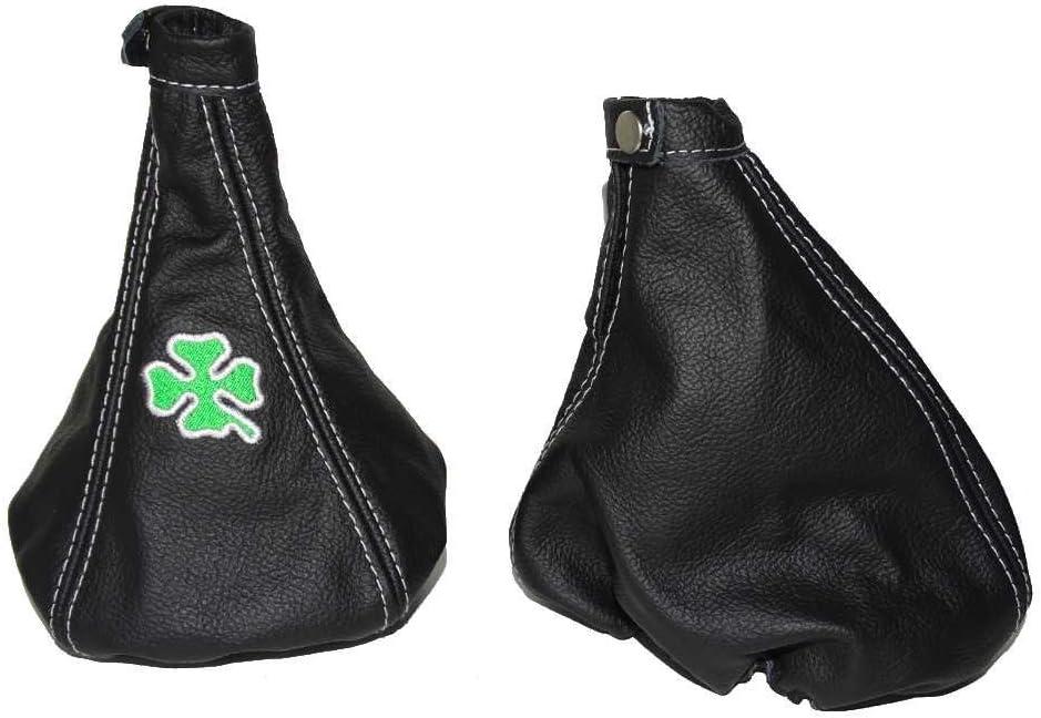 The Tuning-Shop Ltd For Alfa Romeo 156 Fl 2003-05 Shift & E Brake Boot Black Italian Leather Clover Logo Embroidery