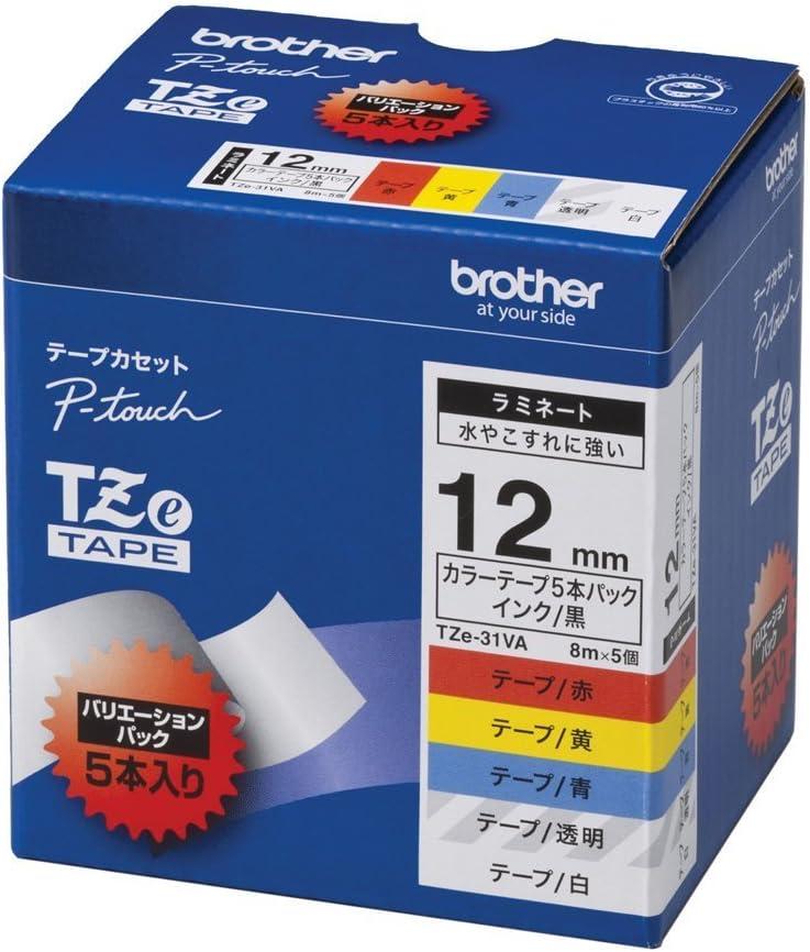 (まとめ買い) ブラザー ピータッチテープ ラミネートテープ 12mm 5種類詰め合わせパック TZE-31VA 【×3】