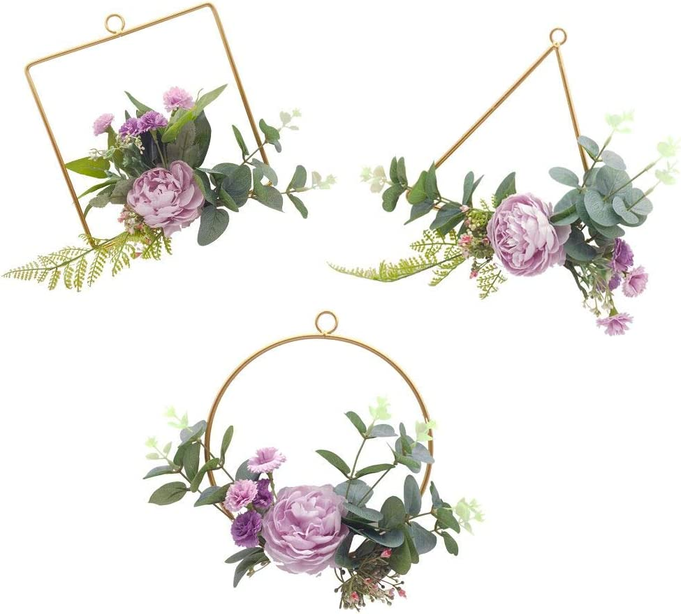 ZJCilected Floral Hoop Wreath Champagne Geometric Wire Round Triangle Square Hoop Frame of Artificial Rose Flower for Wedding Backdrop Wall Decor Geometric Wire Wall Decor Pack of 3