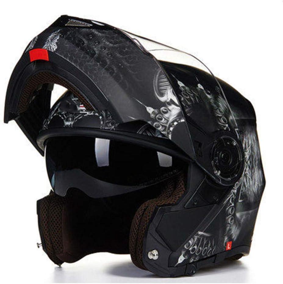 YWLG Flip Up Casque De Moto avec Pare-Soleil Int/érieur Tout Le Monde Abordable Double Casque De Moto Lens,WhiteRed-M55-58cm