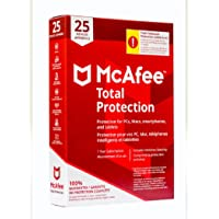 McAfee Total Protection for 25 Devices. 1 Year Subscription for PCs, Macs, Smartphones and Tablets