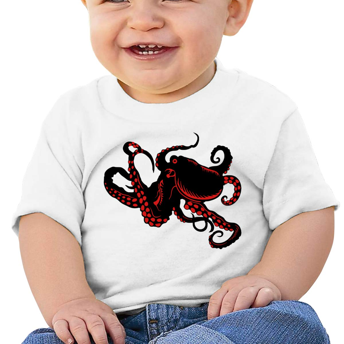 Red Octopus Short Sleeve Shirts Baby Girl
