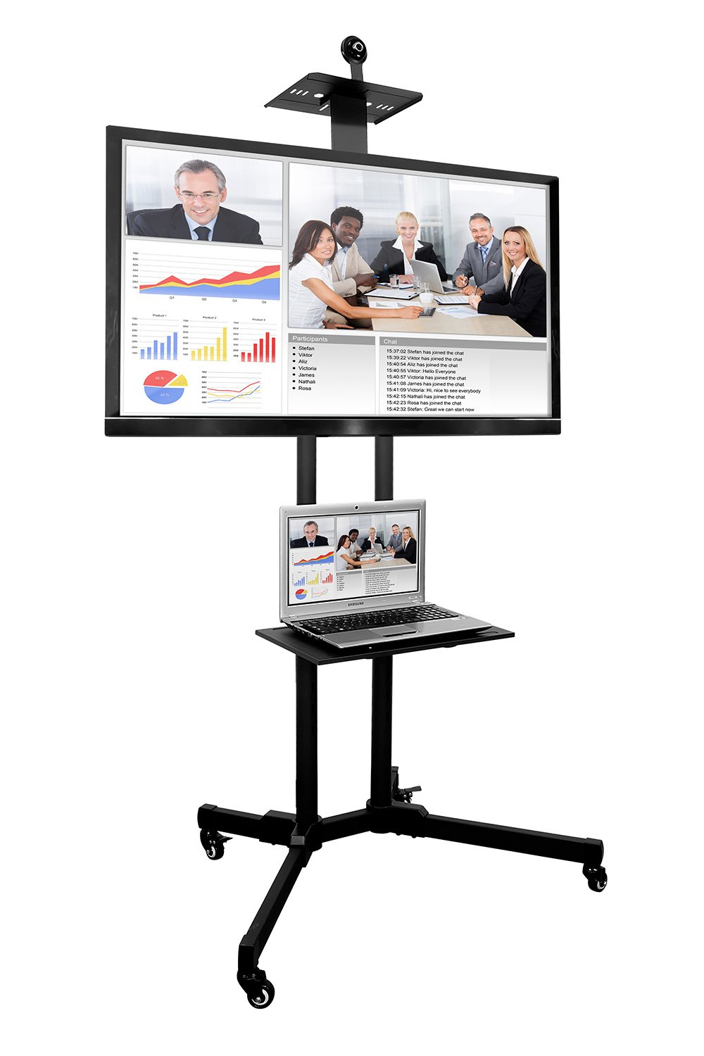 Mount-It MI-876 TV Cart Mobile TV Stand Wheeled Height Adjustable Flat Screen Television Stands with Rolling Casters and Shelf, VESA Compatible TV Mount Bracket Fits Displays 37 to 70 Inch, 110 Lbs