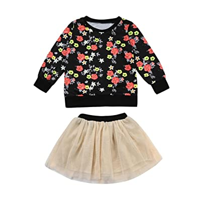 Digood Toddler Newborn Baby Kids Girls Floral Print T-Shirt Tops+Tutu Lace Solid Skirt 2PCS Outfits Set Clothes