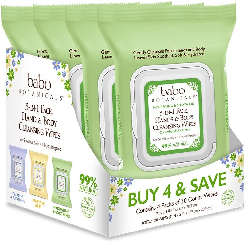 Babo Botanicals Swim & Sport 3-in-1 Face, Hand & Body Wipes with Natural Cucumber and Aloe Vera, Hypoallergenic, Vegan - 120 ct.