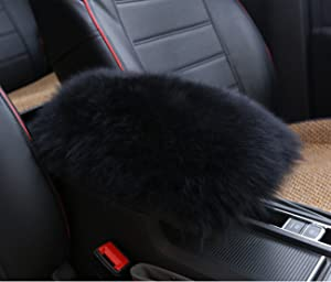 Alusbell Auto Center Console Pad, Furry Sheepskin Wool Car Armrest Seat Box Cover Protector Universal Fit