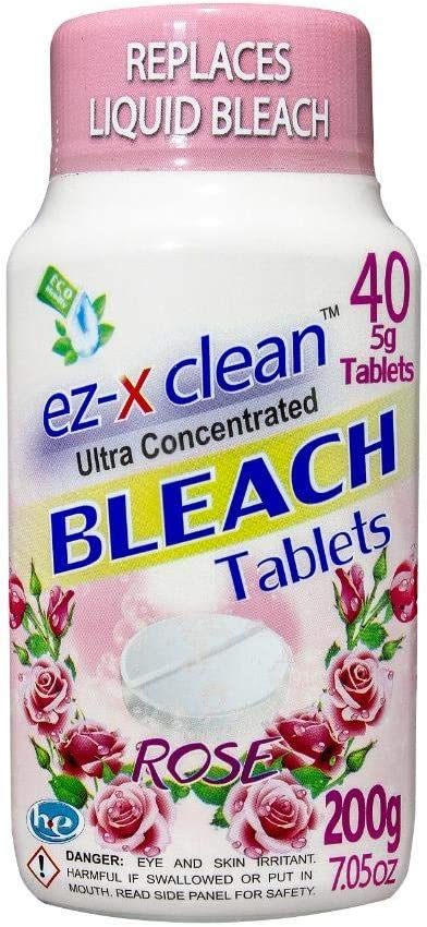 EZ-X CLEAN Ultra Concentrated Water Activated Bleach Tablets for Laundry and Multipurpose Cleaning. 40 Tablets 7.05 OZ Phosphate Free Replaces Liquid BLEACHES (Rose)