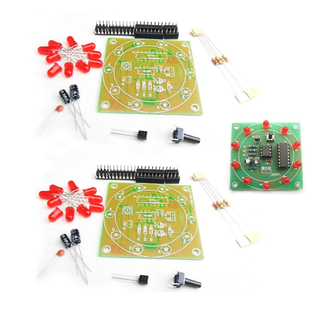 2 piezas NE555 CD4017 electrónica Lucky Turntable producción electrónica DIY Kit de luz de flash DIY para estudiantes electrónica aprendizaje estudio