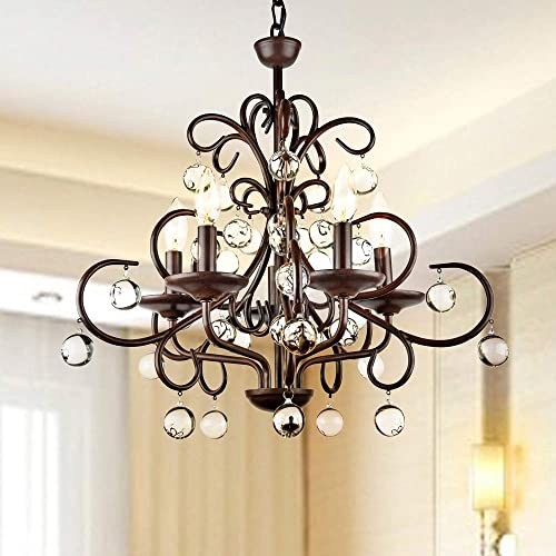 The Lighting Store Wrought Iron and Crystal 5-Light Chandelier