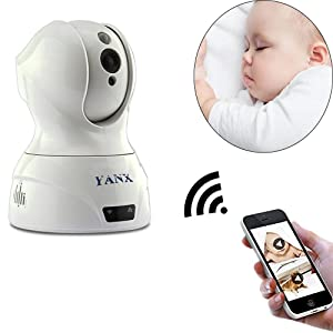 Baby Monitor,YANX Wireless Wifi (2.4Ghz) Camera Full HD IP Security Nanny Cam Home Security Camera System with Plug/Play, Pan/Tilt, Night Vision and Two-Way Audio