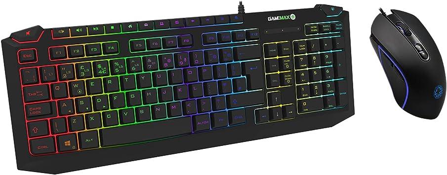 Game Max Pulse RGB Teclado y ratón para juegos, retroiluminación LED de 7 colores, 7D óptico, anti-fantasma, DPI ajustable