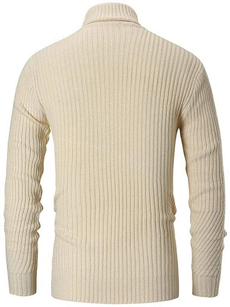 WAWAYA Men High Collar Warm Knitted Trendy Long Sleeve Striped Solid Pullover Sweater