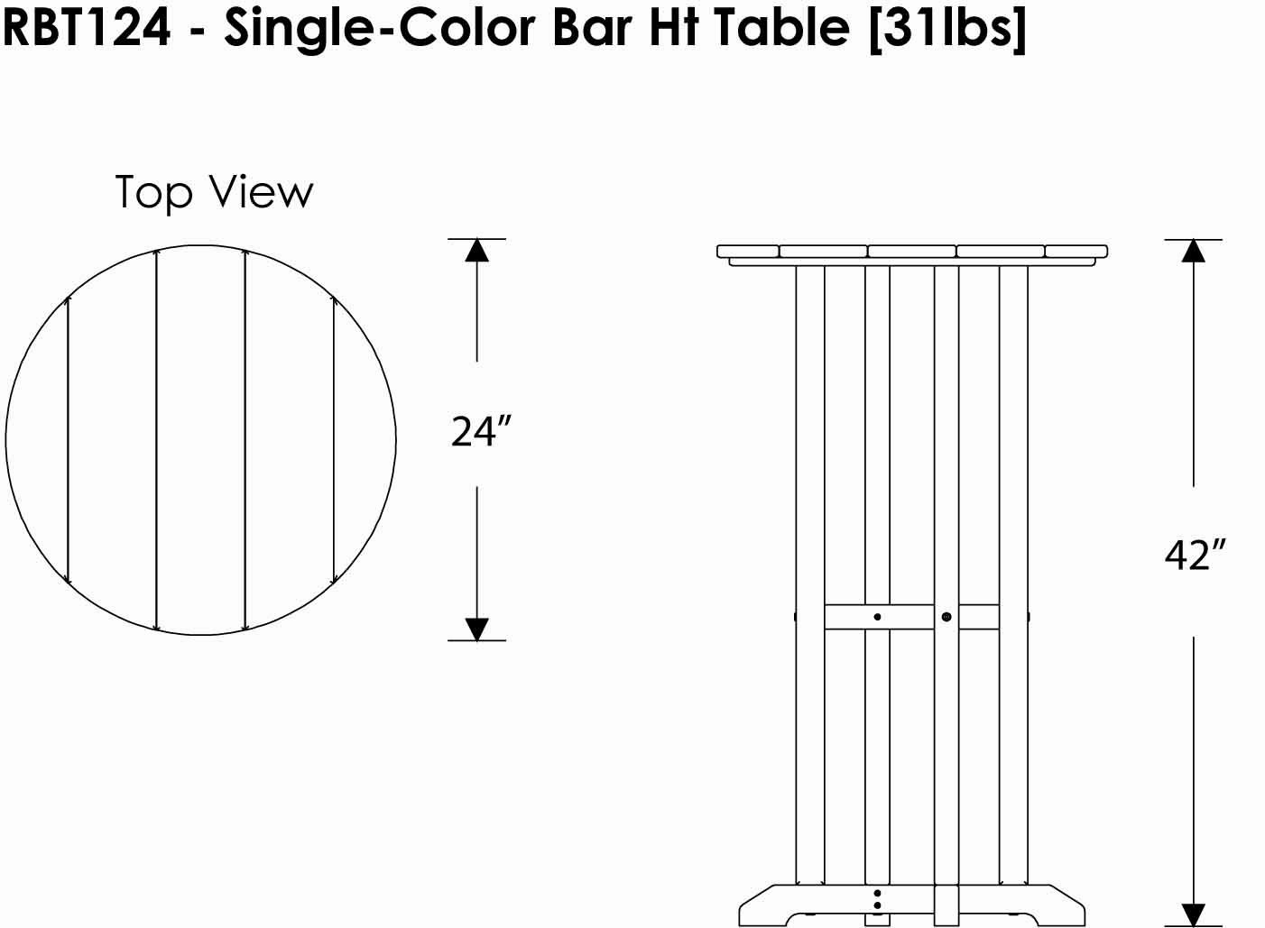 Bar table dimensions - Amazon Com Polywood Rbt124wh Traditional 24 Round Bar Table White Patio Side Tables Garden Outdoor