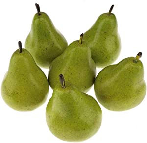 Gresorth 6pcs High-Grade Artificial Green Pear Decoration Fake Fruit Adornment Food Toy Home Party Holiday Decoration