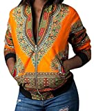 Oberora Womens Vintage Zip Up Africa Print Dashiki Pockets Short Jacket Coat Outerwear Yellow XS